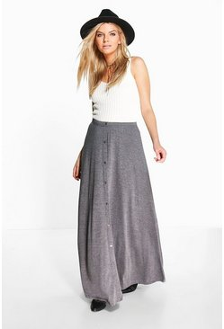 Womens Charcoal Ruby Button Front Jersey Maxi Skirt