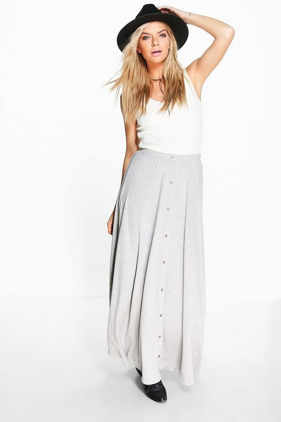 Ruby Button Front Jersey Maxi Skirt