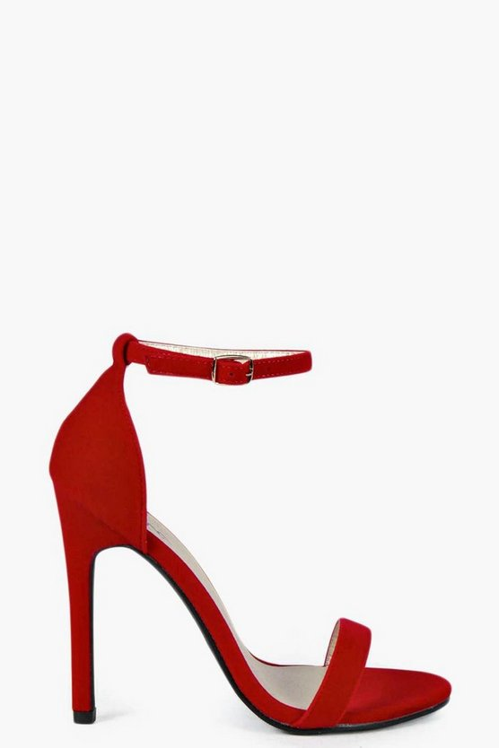Womens Red Suedette Skinny Barely There Heels