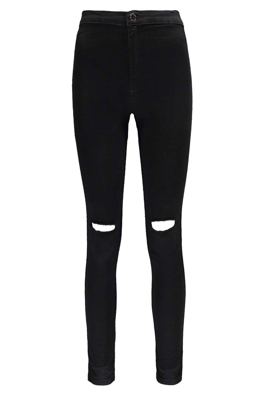 negro disco alto rasgados Jeans talle de fwYxq0