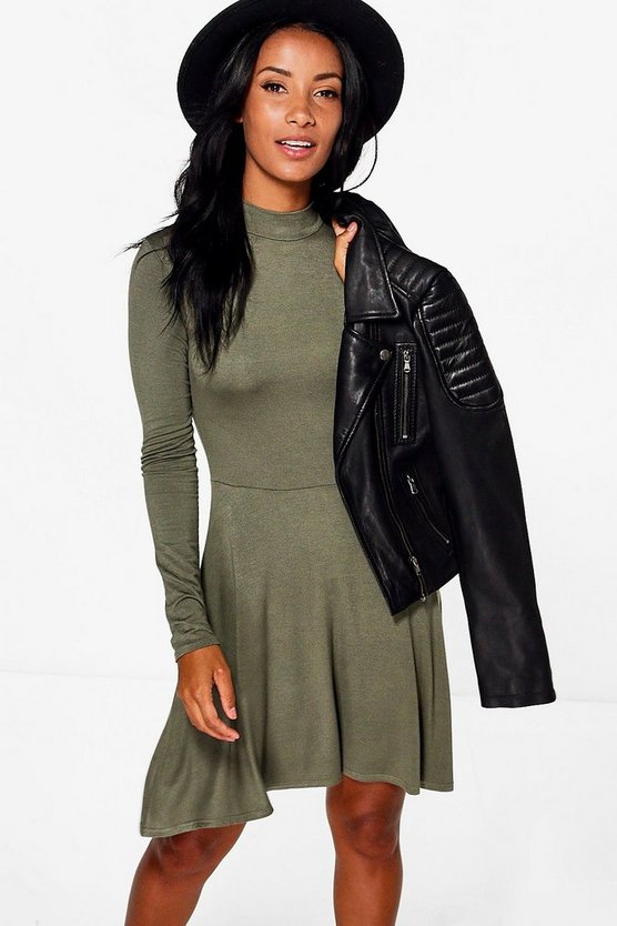 Alissia Turtle Neck Skater Dress
