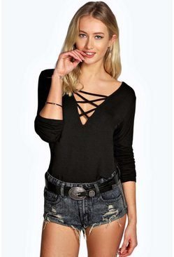 Womens Black Lydia Lattice Detail Long Sleeve Top