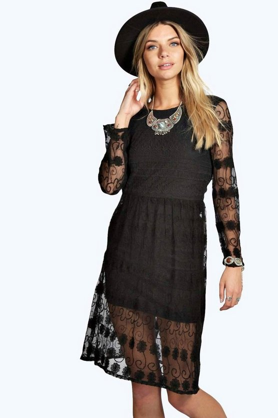 Womens Lydia Woven Lace Midi Dress