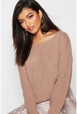 Womens Camel Round Neck Moss Stitch Jumper