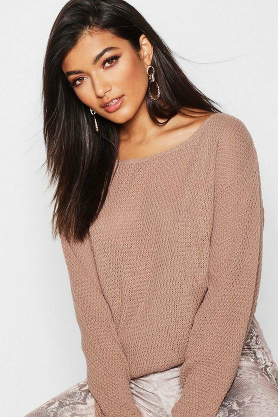 Round Neck Moss Stitch Jumper
