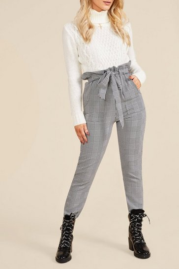 Ecru Turtle Neck Cable Crop Jumper
