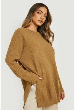 Camel Side Split Moss Stitch Tunic Sweater
