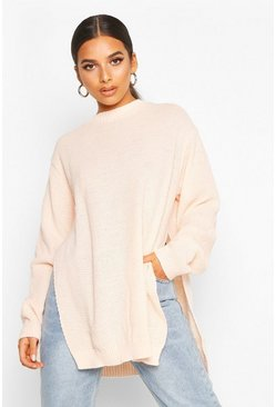 Soft pink Side Split Moss Stitch Tunic Jumper