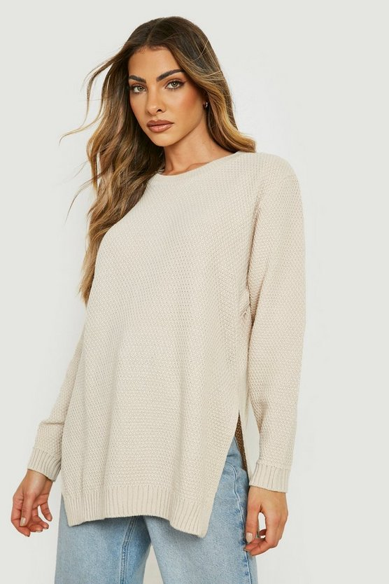 Womens Stone Side Split Moss Stitch Tunic Jumper