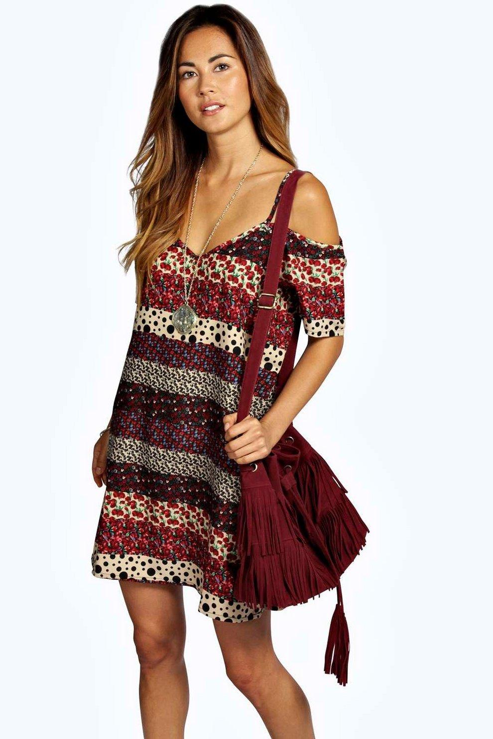 911f55f2b3391 Laura Woven Strappy Cold Shoulder Dress
