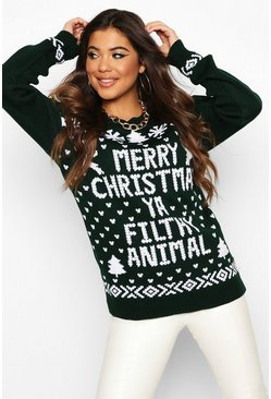 Womens Bottle Merry Christmas Ya Filthy Animal Jumper