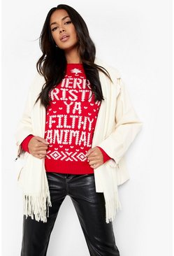 Womens Red Merry Christmas Ya Filthy Animal Jumper