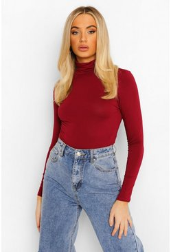 Womens Berry Basic Turtle Neck Long Sleeve Top