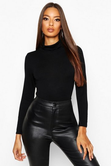 Womens Black Basic Turtle Neck Long Sleeve Top