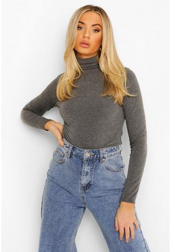 Womens Charcoal Basic Turtle Neck Long Sleeve Top
