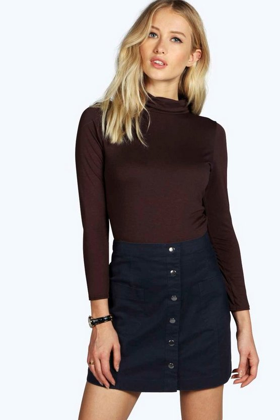 Chocolate Basic Turtle Neck Long Sleeve Top