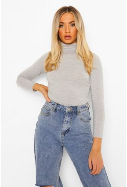 Grey Basic Turtle Neck Long Sleeve Top