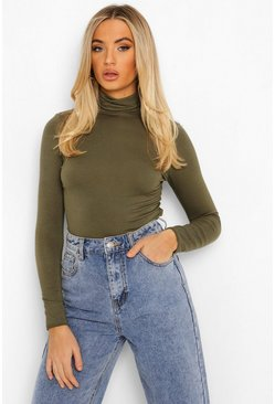 Womens Khaki Basic Turtle Neck Long Sleeve Top