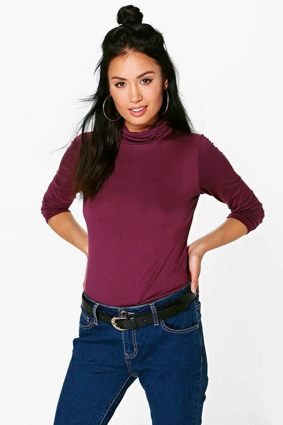 Womens Ruby Basic Turtle Neck Long Sleeve Top