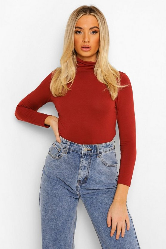 Womens Rust Basic Turtle Neck Long Sleeve Top