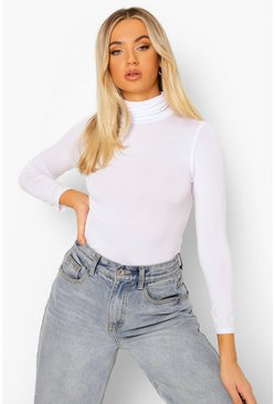 Womens White Basic Turtle Neck Long Sleeve Top