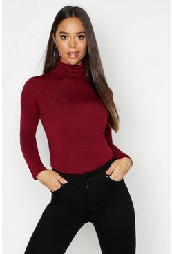 Wine Basic Turtle Neck Long Sleeve Top
