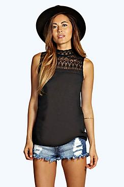 Lace High Neck Woven Top