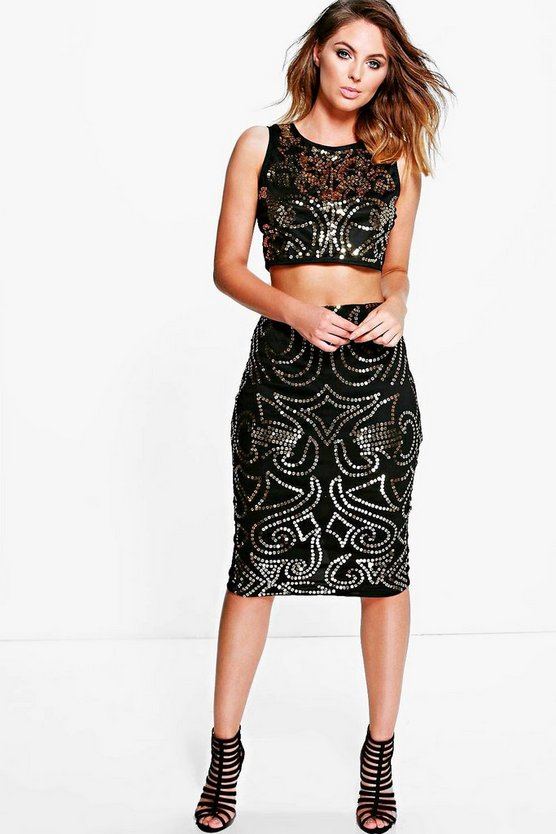 Womens Black Shari Embellished Bodycon Co-Ord Set