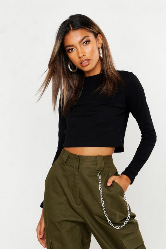 Womens Black Ribbed High Neck Long Sleeve Crop Top