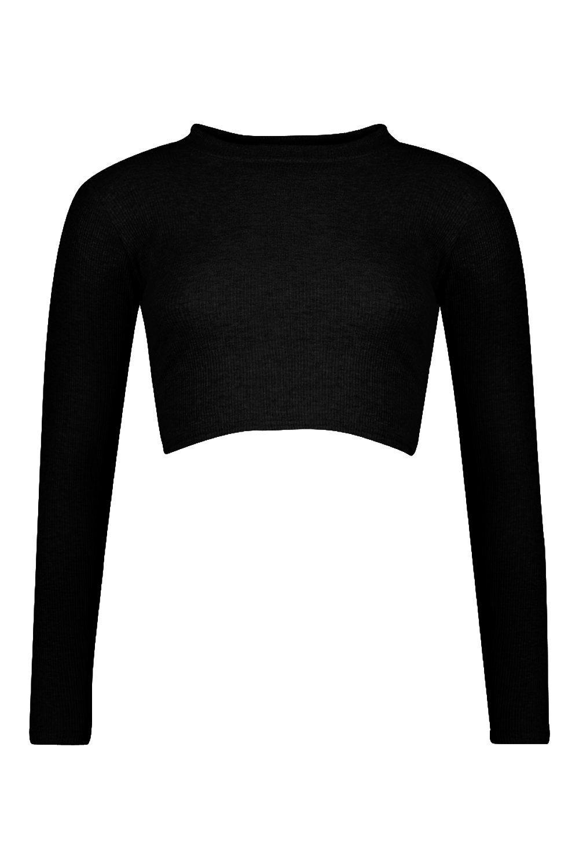 Top con alto de larga canalé negro en cuello corto manga UaxvpwUHq