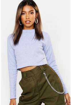 Womens Grey Ribbed High Neck Long Sleeve Crop Top
