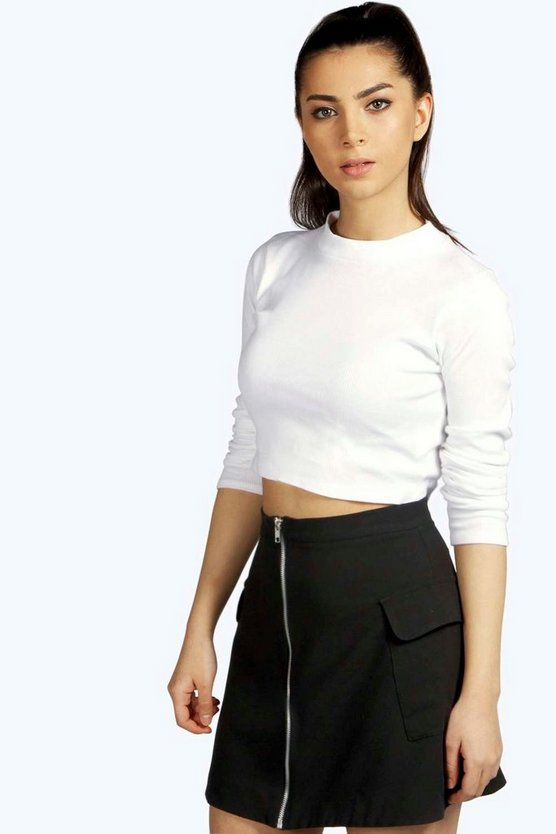 Ribbed High Neck Long Sleeve Crop Top