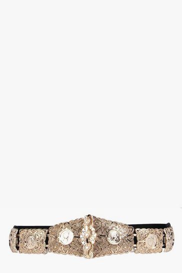Gold Textured Metal Plate Waist Belt