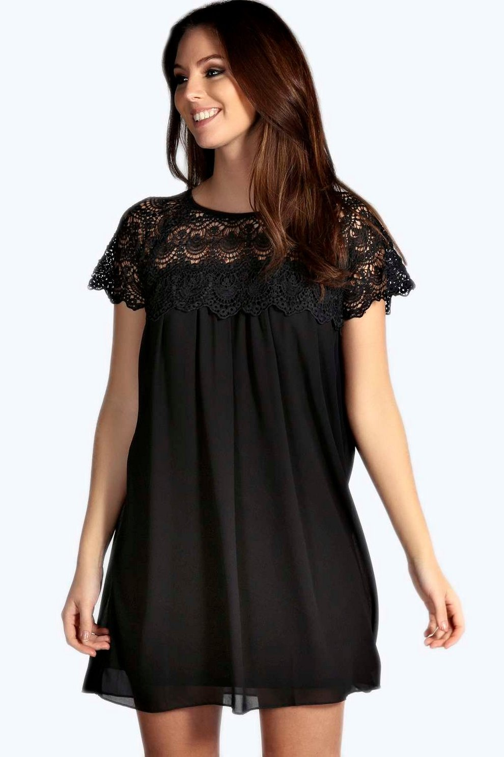 48bf96655c563 Erin Woven Crochet Lace Shoulder Swing Dress | Boohoo