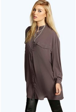 Womens Charcoal Longline Grandad Collar Boyfriend Shirt