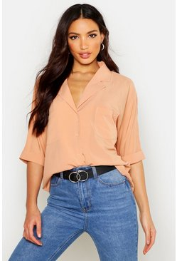 Womens Camel Revere Collar Oversized Shirt