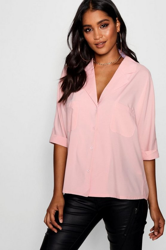 Womens Nude Revere Collar Oversized Shirt