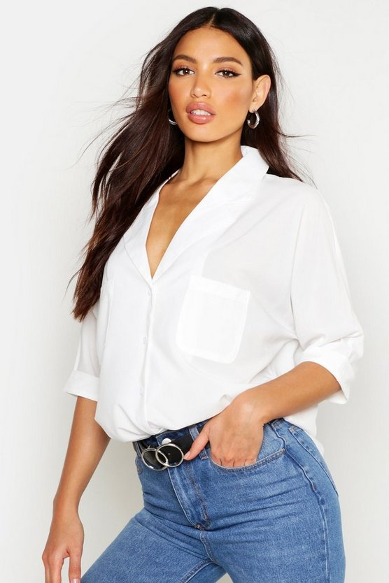 Womens White Revere Collar Oversized Shirt