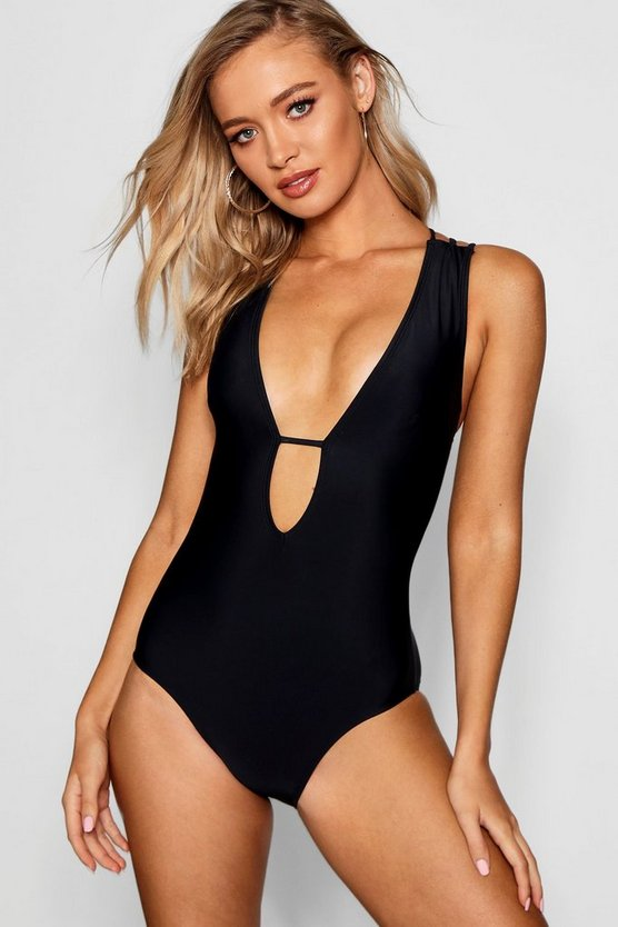 Black Plunge Front Cross Strap Back Swimsuit