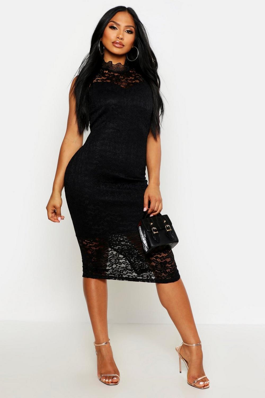 bdca3dd1ff812 Boutique Lace High Neck Bodycon Midi Dress   Boohoo