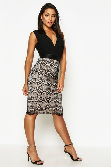 Black Boutique  2 in 1 Bodycon Midi Dress