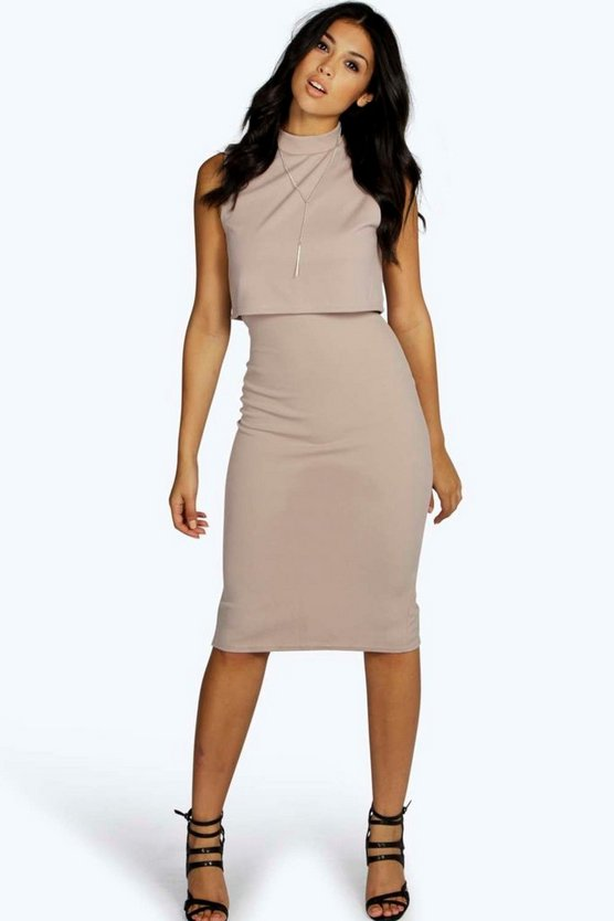 High Neck Double Layer Midi Dress