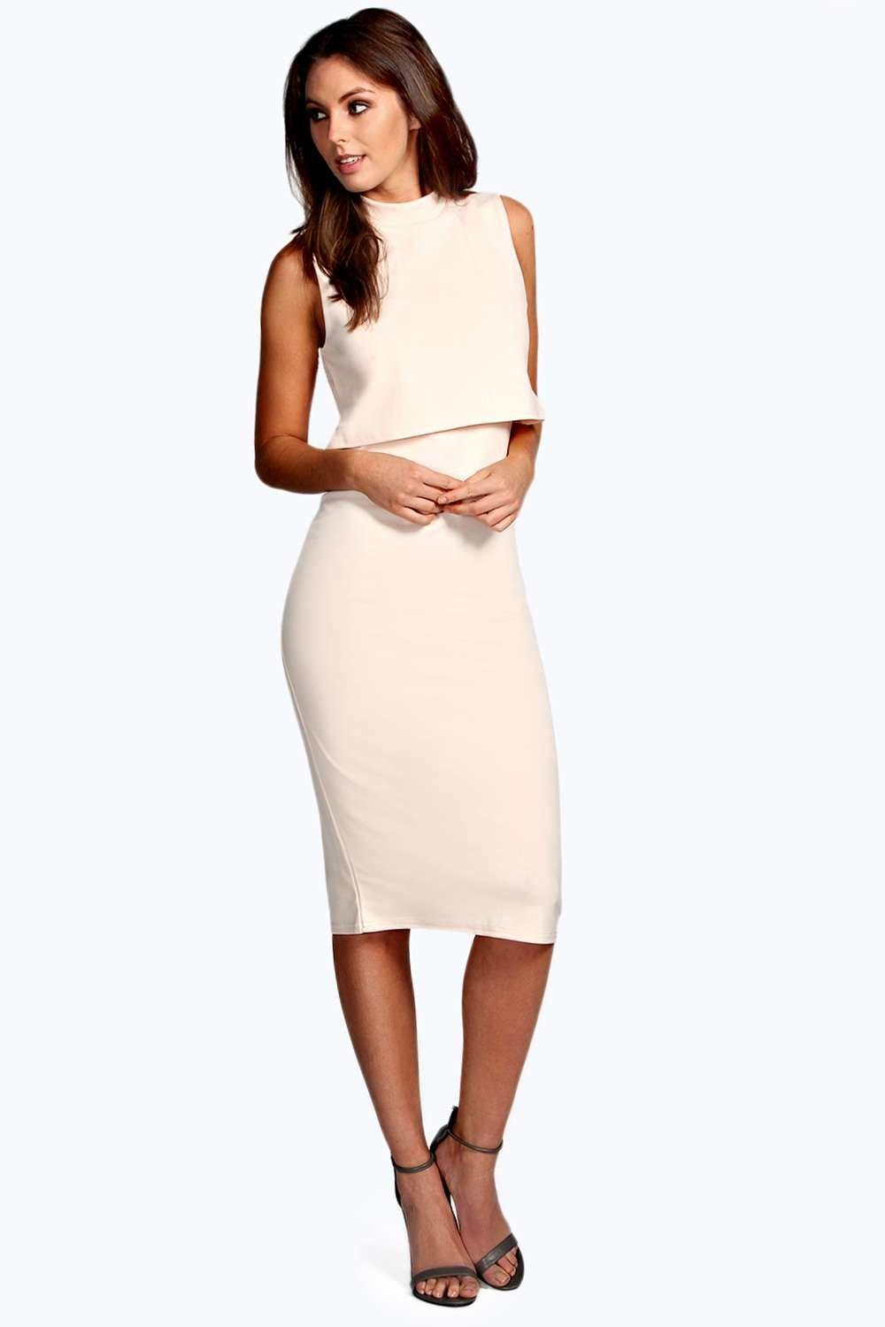 Leah High Neck Double Layer Midi Dress At Boohoo Com