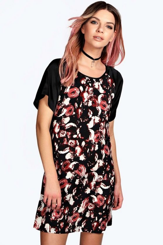 Treena Floral Contrast Satin Shift Dress