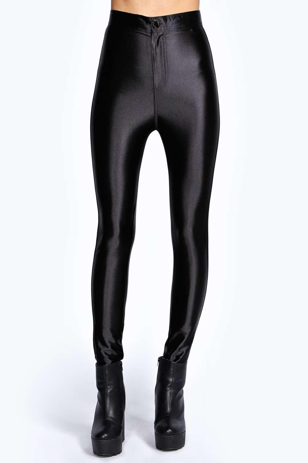 4ba7b9b241655b Womens Black Beci High Waisted Super Skinny Disco Pants. Hover to zoom