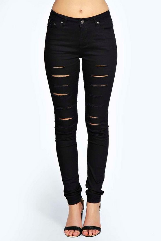 Womens Black Mid Rise Cut Leg Ripped Skinny Jeans
