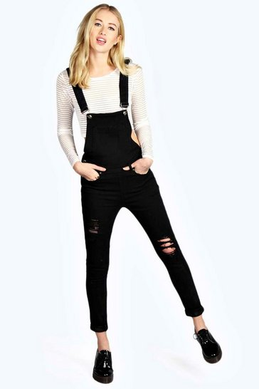 Womens Black Denim Dungarees