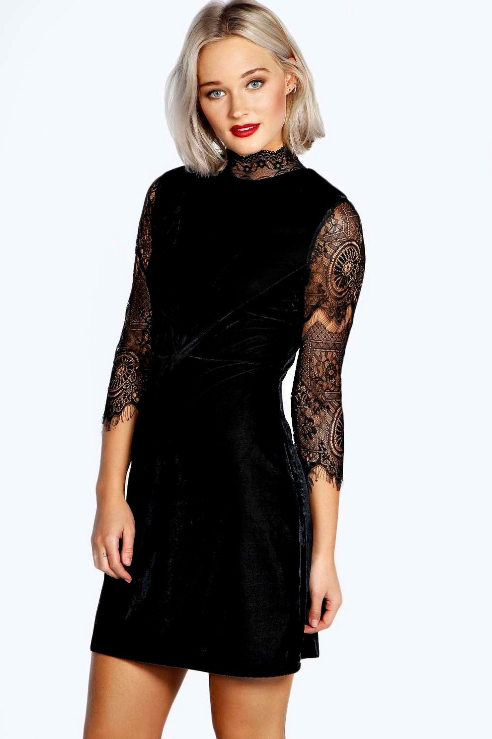 44f85f5cc3df3 High Neck Lace and Velvet Bodycon Dress