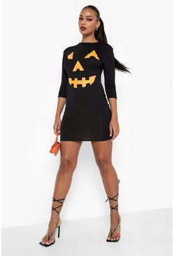 Womens Black Hayley Pumpkin Print Halloween Bodycon Dress