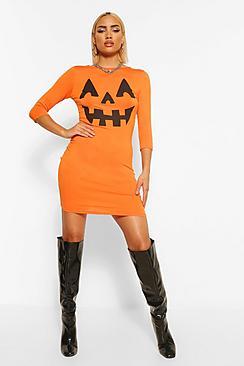 Vintage Retro Halloween Themed Clothing Hayley Pumpkin Print Halloween Bodycon Dress $20.00 AT vintagedancer.com
